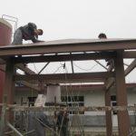 Installation of wood – plastic pavilion